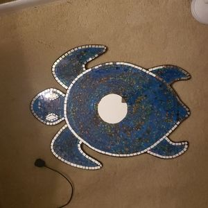 Stained glass sea turtle wall hanging w mirror